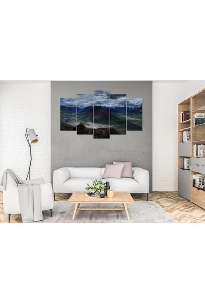 Hediye Kapında 5 Parçalı Dekoratif Tablo Dağ