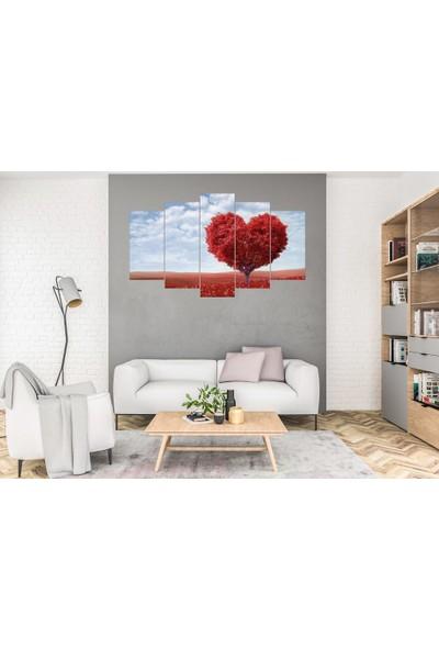 Hediye Kapında 5 Parçalı Dekoratif Tablo Kalp Ağaç