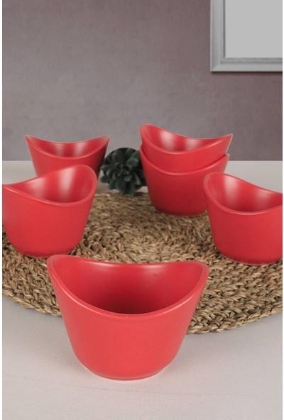 Keramika Mat Kırmızı Mila Çerezlik/Sosluk 11 Cm 6 Adet