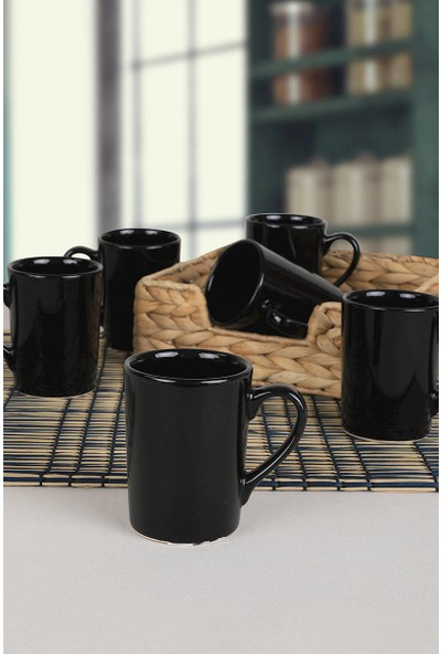 Keramika Siyah Zen Kupa 8 Cm 6 Adet