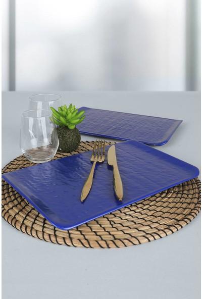 Keramika Mat Efe Mavi Doğaltaş Kayık Tabak 30 Cm 2 Adet