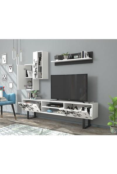 Rafline Flowers Tv Ünitesi Beyaz-Siyah