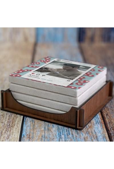 Kraftolye Kişiye Özel Fotoğraflı İnstagram Çerçevesi Doğal Taş Bardak Altlığı 4'lü Set.p KS01-1387 - Kutulu