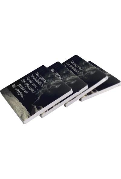 Kraftolye Şiir Serisi Doğal Taş Bardak Altlığı 4'lü Set KS01-1516 - Kutulu