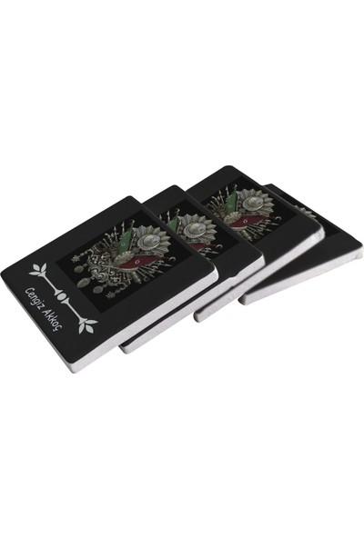 Kraftolye Kişiye Özel Osmanlı Tuğrası Doğal Taş Bardak Altlığı 4'lü Set KS02-1596 - Standlı