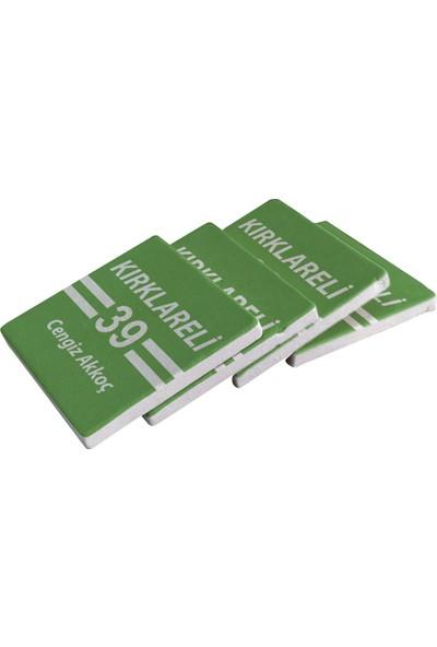 Kraftolye Yeşil & Beyaz Kırklarelililere Özel Doğal Taş Bardak Altlığı 4'lü Set KS02-1772 - Standlı