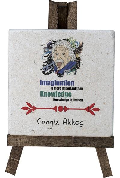 Kraftolye Kişiye Özel Hayal gücü bilgiden daha önemlidir Doğal Taş Masa Dekoru 10 x 10 cm KS03-2312