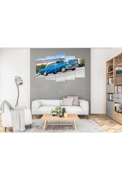 Hediye Kapında 5 Parçalı Dekoratif Tablo Klasik Araba