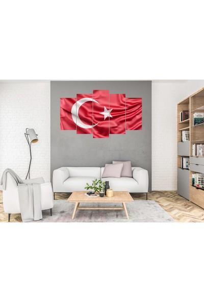 Hediye Kapında 5 Parçalı Dekoratif Tablo Türk Bayrağı