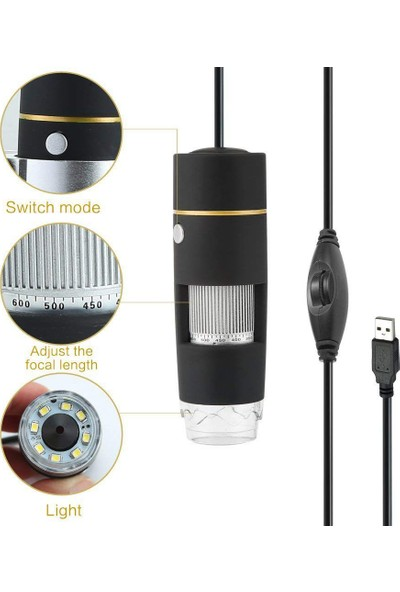 Koolertron USB Digital 8 LED 1X-500X Real 2mp Continuous Zooming Mikroskop