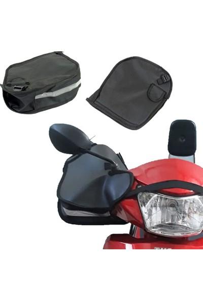 Carneil Motosiklet Eldiven Rüzgar Koruyucu Scooter ve Cup Vitesli Motorsiklet Reflektörlü El Koruma Su Geçirmez E100