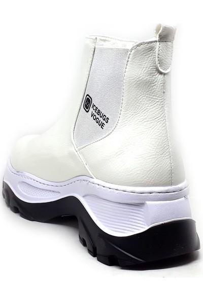 Shop And Shoes 056-3127 Kadın Bot Beyaz Rugan