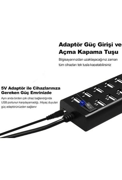 CoverZone USB 2.0 13 Port USB Çoklayıcı Hub Açma Kapama Tuşlu