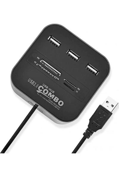 CoverZone USB 2.0 USB Çoğaltıcı Splitter Hub Ms Sd Tf M2 Art Okuyucu