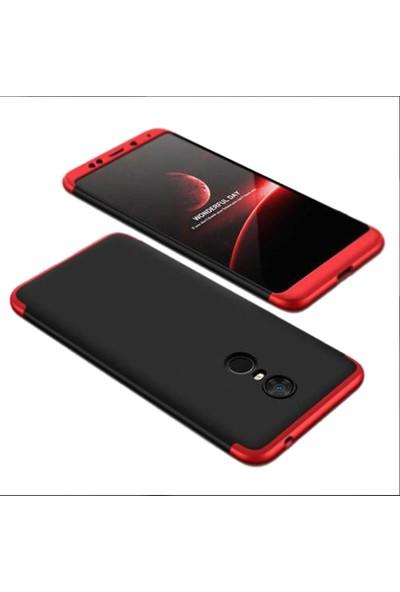 CoverZone Xiaomi Mi 9t Kılıf 3 Parça 360 Soft Hard Koruma Siyah Kırmızı