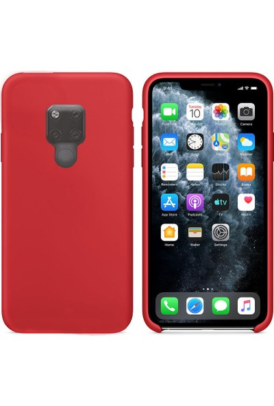 CoverZone Huawei Mate 30 Lite Kılıf Silky Silikon Delux Tasarım Kırmızı