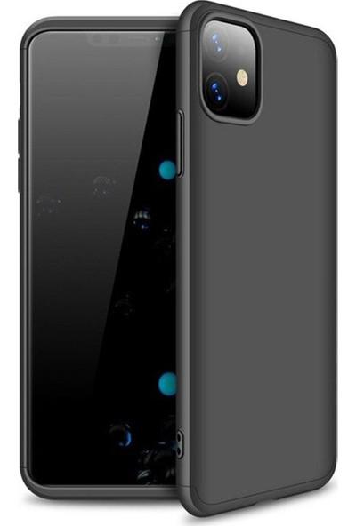 CoverZone Apple iPhone 11 Pro Kılıf 3 Parça 360 Soft Hard Koruma Siyah