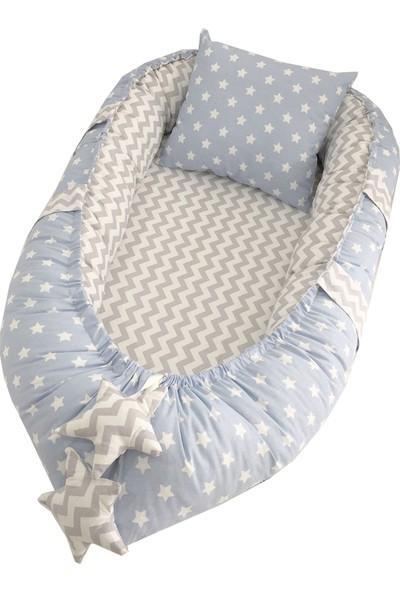 Modastra Babynest Mavi ve Gri Zigzag Tasarım Baby Nest