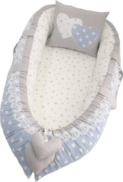 Modastra Babynest Mavi ve Gri Tasarım Baby Nest