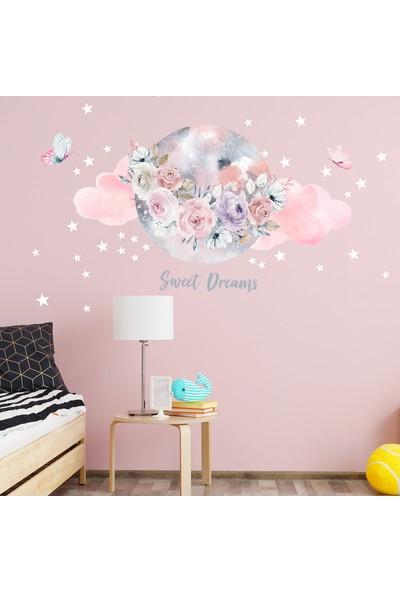 Sim Tasarım Çiçekler ve Ay Temalı Duvar Sticker Seti