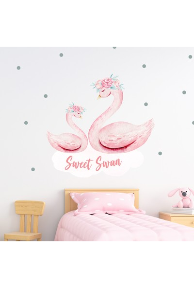 Sim Tasarım Pembe Kuğu Duvar Sticker Seti