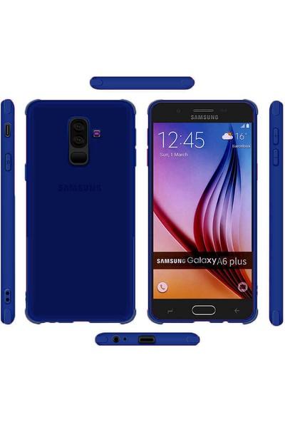 CoverZone Samsung Galaxy J4 Kılıf Alto Yarı Saydam Güçlü Koruma Koyu Mavi