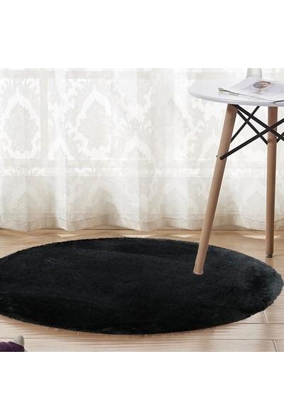Sarar 100 x 100-cm Yuvarlak Düz Renk Peluş Pofuduk Kaymaz Jel Taban Siyah Renk Halı