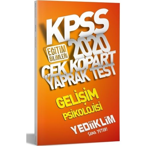 Yediiklim Yayınları 2020 KPSS Eğitim Bilimleri Gelişim Psikolojisi Çek Kopart Yaprak Test