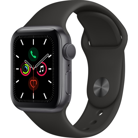 Apple Watch Seri 5 40mm GPS Space Grey Alüminyum Kasa ve Siyah Spor Kordon MWV82TU/A
