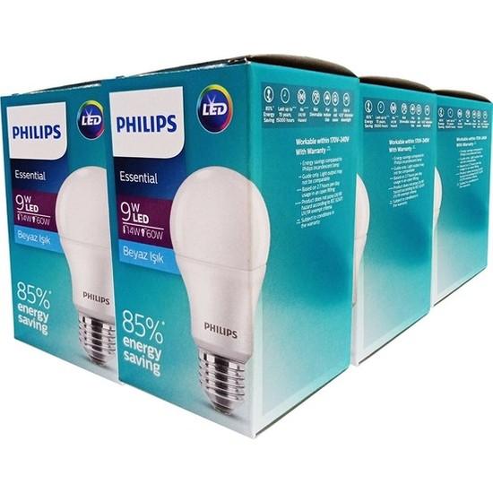 Philips ESS LEDBulb 9-60W E27 Normal Duy Beyaz Işık 12'li Ekopaket