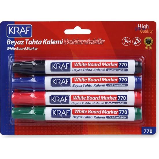 Kraf Beyaz Tahta Kalemi Doldurulabilir 770-4 4Lü
