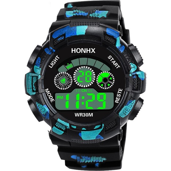 HONHX Dijital LED Kuvars Spor Erkek Genç Çocuk Kol Saati - Mavi