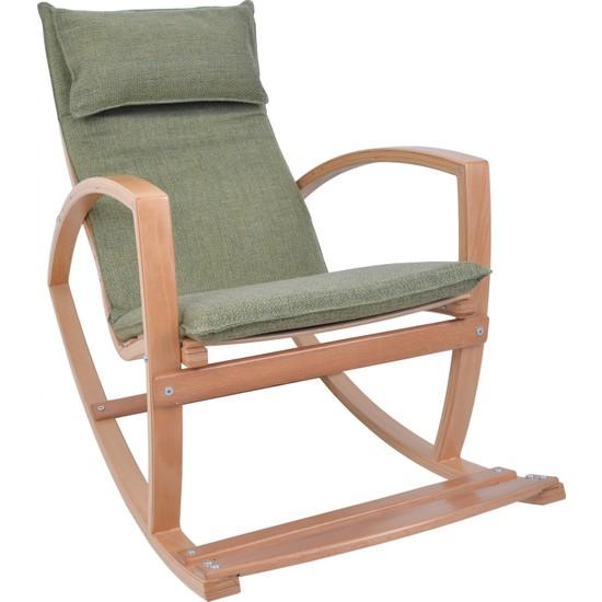 Mobil Deco Mobildeco Ahşap Sallanan Sandalye Dinlenme Koltuğu Yeşil