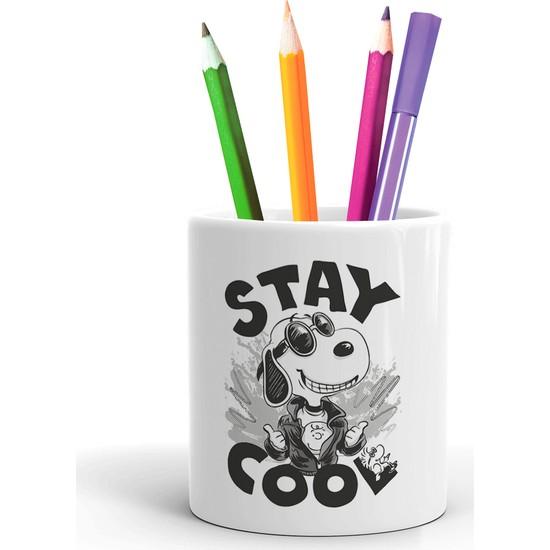 2K Dizayn Snoopy Cool Tasarım Seramik Kalemlik