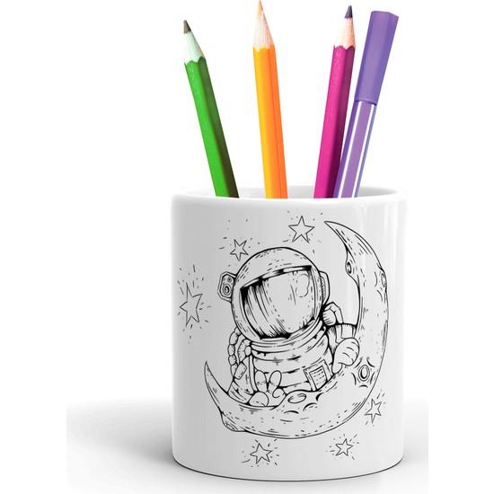 2K Dizayn Ay ve Astronot Tasarım Seramik Kalemlik