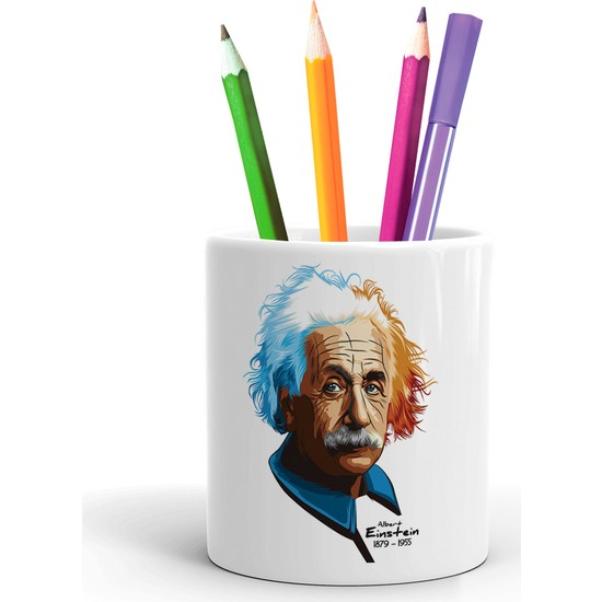2K Dizayn Albert Einstein Tasarım Seramik Kalemlik