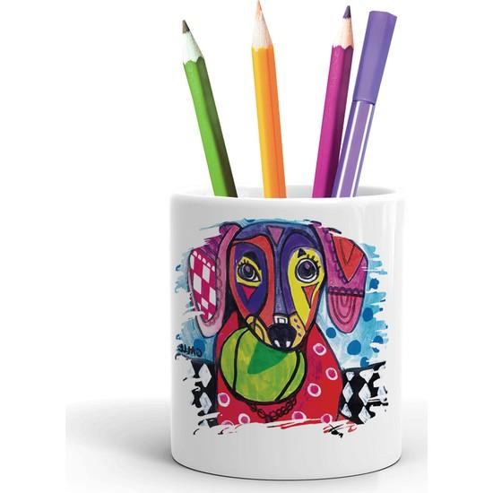 2K Dizayn Renkli Köpek Tasarım Seramik Kalemlik