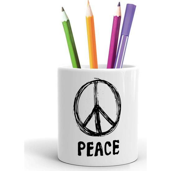 2K Dizayn Peace Tasarım Seramik Kalemlik