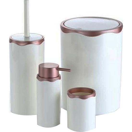 Azra Akrilik Banyo Takımı 4'lü Banyo Seti Beyaz Rose