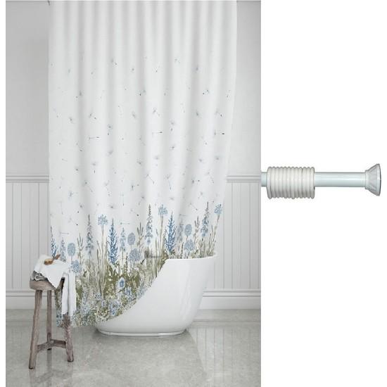 Prado Kır Banyo Perdesi, Duş Perdesi 180X200CM Askı Hediyeli
