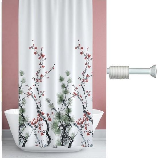 Prado Çam Banyo Perdesi, Duş Perdesi 180X200CM Askı Hediyeli