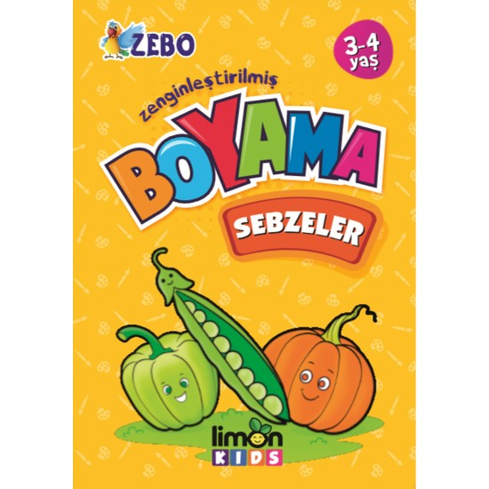 Limon Kids 3-4 Yaş Zenginleştirilmiş Boyama - Sebzeler