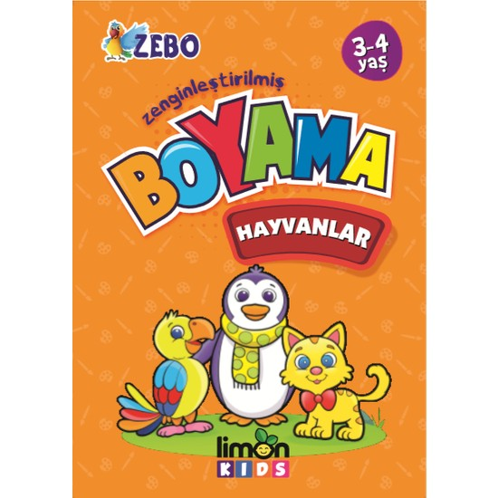 Limon Kids 3-4 Yaş Zenginleştirilmiş Boyama - Hayvanlar