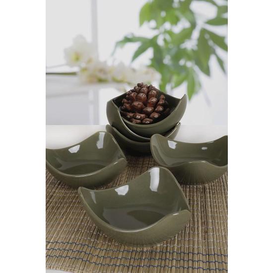 Keramika Koyu Yeşil Lotus Çerezlik / Sosluk 14 Cm 6 Adet