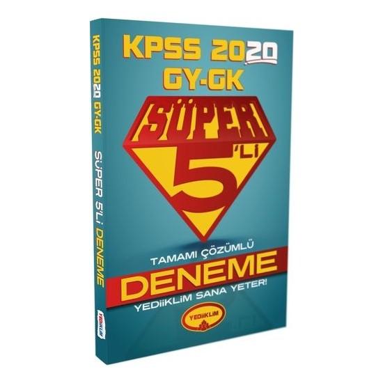 Yediiklim Yayınları 2020 KPSS Genel Kültür Genel Yetenek Tamamı Çözümlü Süper 5 Li Deneme