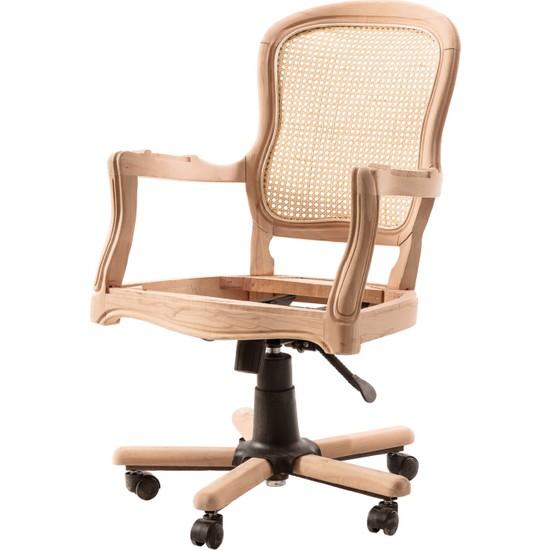 Obuts Home 613 Hasırlı Klasik Dönerli Sandalye Cilasız Ahşap Ham