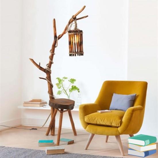 Dekorbizden Ahşap Antik Ağaç Dallı Lambader