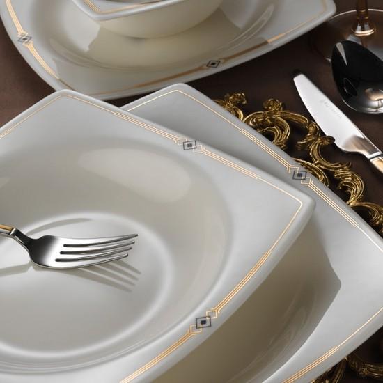 Kütahya Porselen Bone Mare 10605 Altın Desen 62 Parça Yemek Takımı Kare