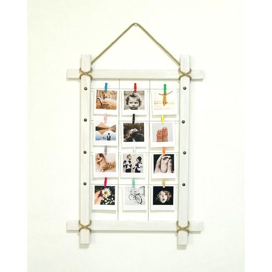 Ahşap Sanat Ahşap Dekoratif 12 Mandallı İpli Fotoğraf Çerçevesi Beyaz 50 x 70 cm