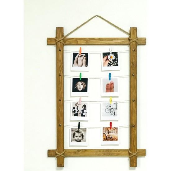 Ahşap Sanat Ahşap Dekoratif 8 Mandallı İpli Fotoğraf Çerçevesi Ceviz 50 x 70 cm